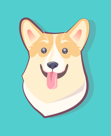 Dog emoticon, excited puppy sticking out its long tongue, black nose and eyes, cute long ears, symbolic pet vector illustration isolated on blue