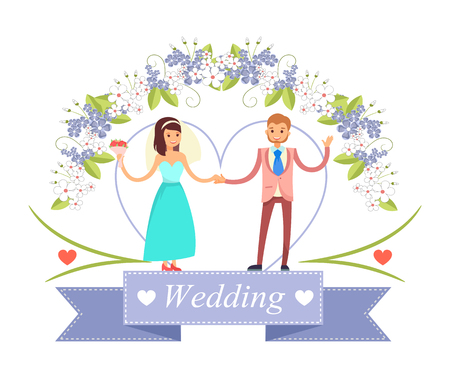 Wedding Dancing Bride, Groom Vector Illustration Çizim
