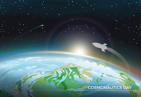 Cosmonautics Day Space Poster Vector Illustration