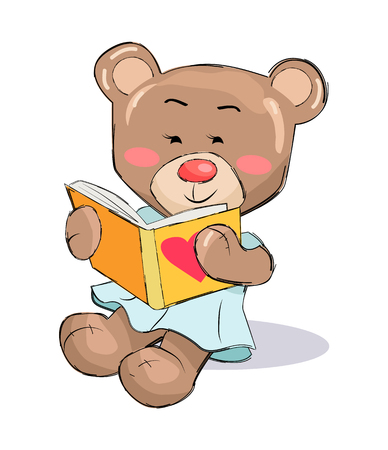 Female teddy-bear reading book with heart sign vector illustration of stuffed bear toy with pink cheeks isolated on white, present for Valentines Day