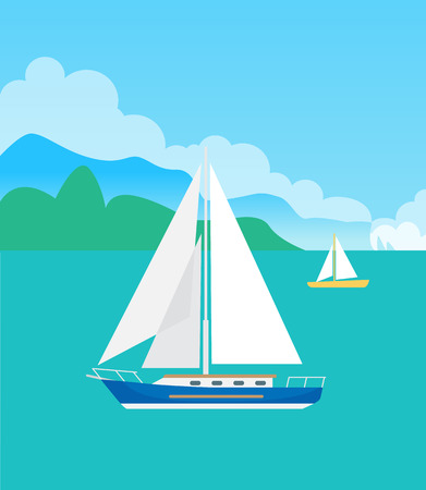 Two Pretty Sailsboats, Color Vector Illustration