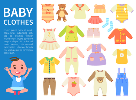 Baby Clothes Color Banner Vector Illustration Иллюстрация