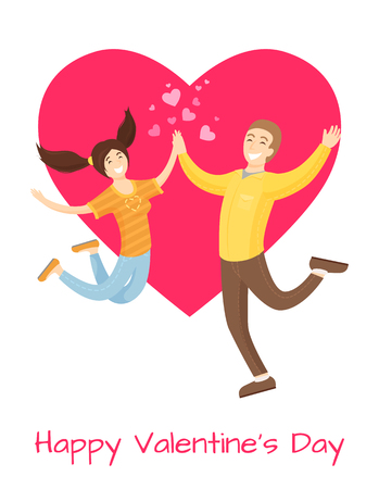 Happy Valentines Day Poster Lovers Merrily Jumping