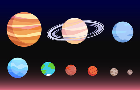 Planets Collection Poster Vector Illustration