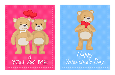 I Love You and Me Teddy Bears Vector Vectores