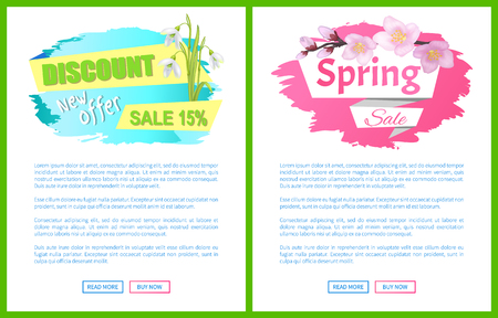 Spring Sale Advertisement Label Branch of Sakura