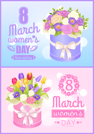 8 March Love Spring Poster Vector Illustration