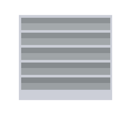 Supermarket with empty shelves of grey color, ready to be supplied with products, mall and merchandising vector illustration isolated on white