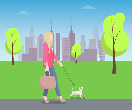 Woman Walking with Pat in Park, Colorful Poster