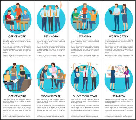 Office Work and Teamwork Set Vector Illustration