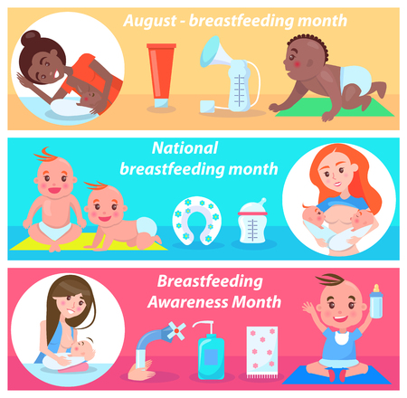 National breastfeeding month in august banner vector illustration with pair of twins with orange hair, stuff for feeding process, happy kids with moms Illustration