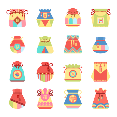 Small Authentic Bags with Ethnic Patterns Set Ilustrace