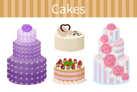 Various Delicious Desserts Vector Illustration Иллюстрация