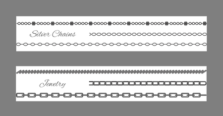 Silver Chains and Jewelry Set Vector Illustration