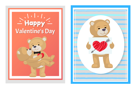 I Love You and Me Teddy Bears Vector 일러스트