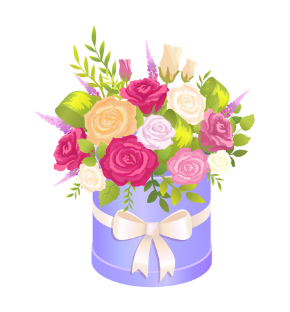 Cute Bouquet in Festive Oval Box with Pretty Bow Illustration