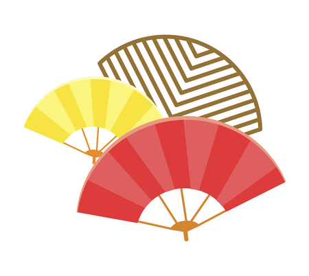 Traditional Japanese Fans Isolated Illustration Vettoriali