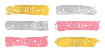 Échantillons de couleurs de luxe brillantes avec slogan pour chacun