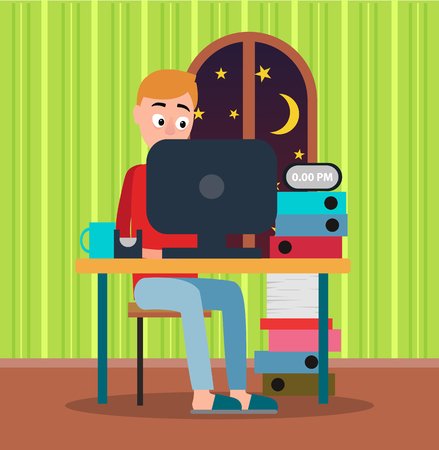 Working at Midnight Man Color Vector Illustration