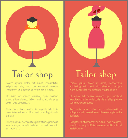 Tailor Shop Framed Banners, Vector Illustration