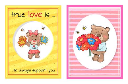 True Love Always Support Teddy Cheerleader Bouquet Фото со стока - 101693429
