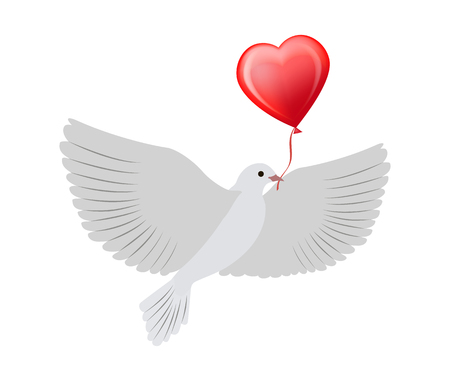 Dove Flying with Heart Balloon Vector Illustration Ilustração