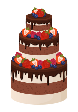 Three-Tier Cake with Chocolate and Cream Layers