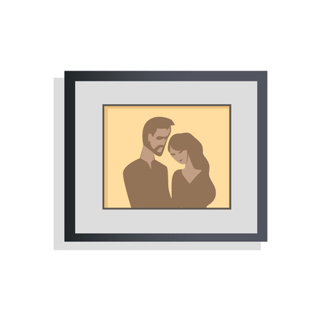 Interior Decor Picture Couple Vector Illustration