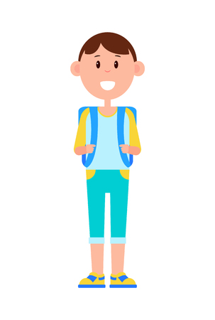 Funny Schoolboy with Big Backpack and Broad Smile 向量圖像