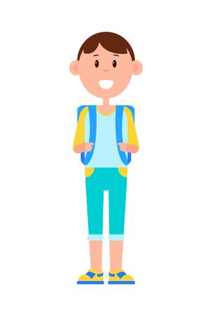 Funny Schoolboy with Big Backpack and Broad Smile Illusztráció