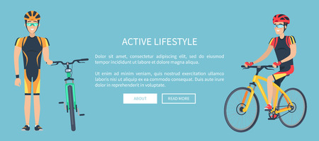 Active Lifestyle Blue Web Page Vector Illustration Illustration