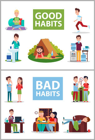 Good and Bad Habits Poster Vector Illustration  イラスト・ベクター素材