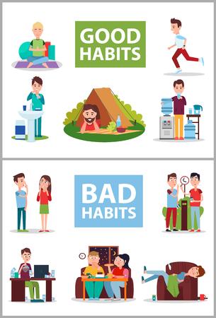 Ilustración de Vector de cartel de buenos y malos hábitos Ilustración de vector