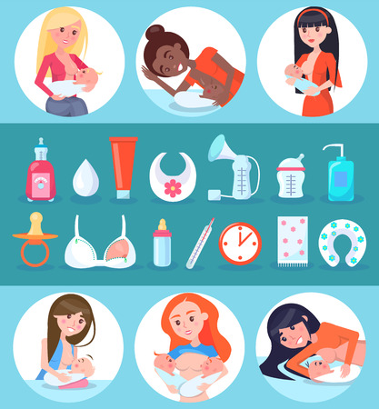 Breastfeeding and Children Set Vector Illustration