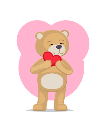 Adorable Teddy Gently Holds Heart Head Lovely Bear Banco de Imagens - 101695501