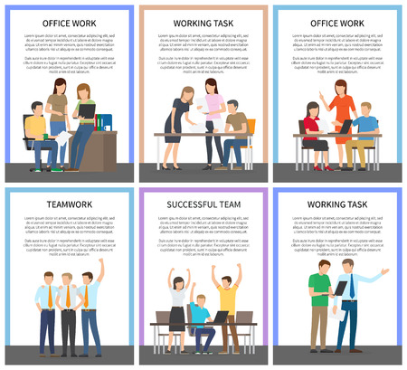 Teamwork and Working Task Vector Illustration Illustration
