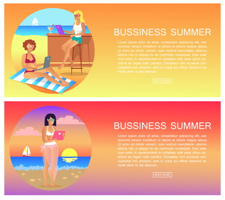 Business Summer Pages Set Vector Illustration