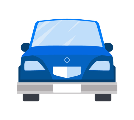 Car of Blue Color Closeup Vector Illustration Иллюстрация