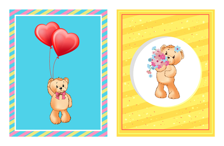I Love You and Me Teddy Bears Vector 版權商用圖片 - 101695432