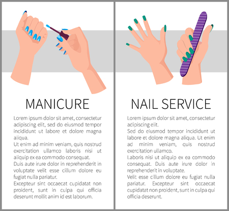 Two Manicure and Nail Services Colorful Banners