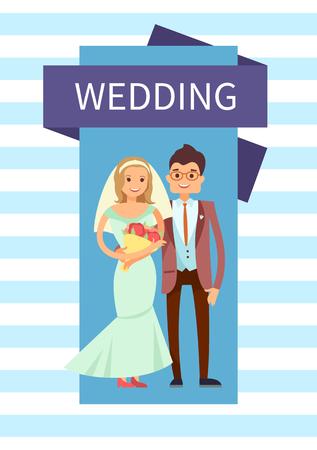 Wedding Bride and Groom Banner Vector Illustration