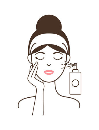 Girl in Headband Aplies Micellar Water from Spray  イラスト・ベクター素材