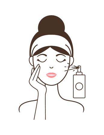 Girl in Headband Aplies Micellar Water from Spray Illustration