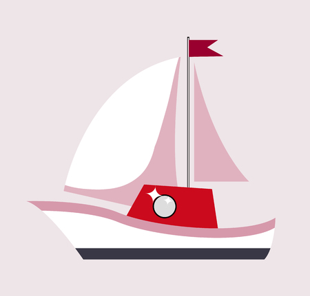 Sailboat with Flag Gift Poster Vector Illustration