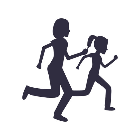 Mother and Daughter Run Jogging Together Vector Illustration