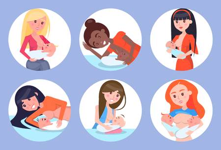 Breastfeeding Mothers and Kids Vector Illustration