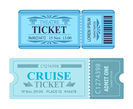 Theatre Ticket Cruise Coupon Vector Illustrations