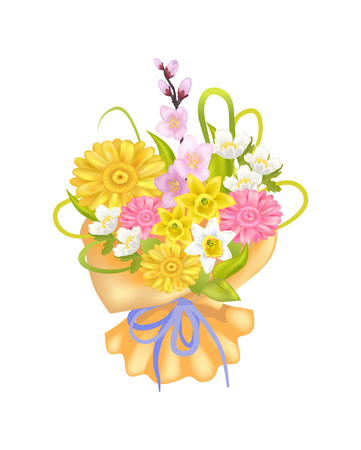 Attractive Bouquet with Varied Flowers, Color Card Ilustracja