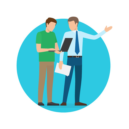 Businessmen Discussing Issues Vector Illustration
