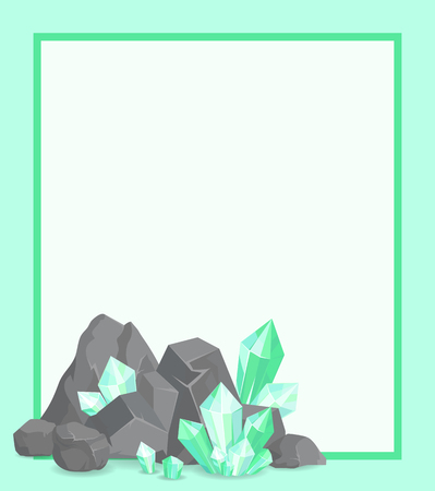 Frame with Stone and Emeralds Vector Poster Border Stock Illustratie